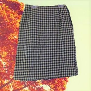 vintage blue plaid wool rockabilly skirt small